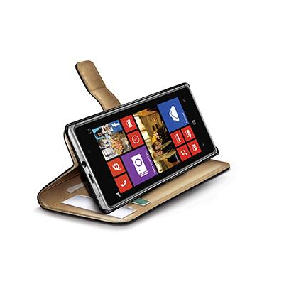 Celly Black Pu Wallet Case For Nokia Lumia 925 In Elegant Pu Leather 3