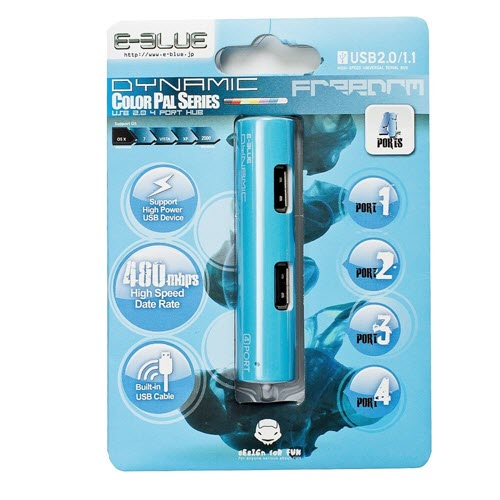 E-Blue Dynamic Blue 4-ports mini USB hub EHB037BL