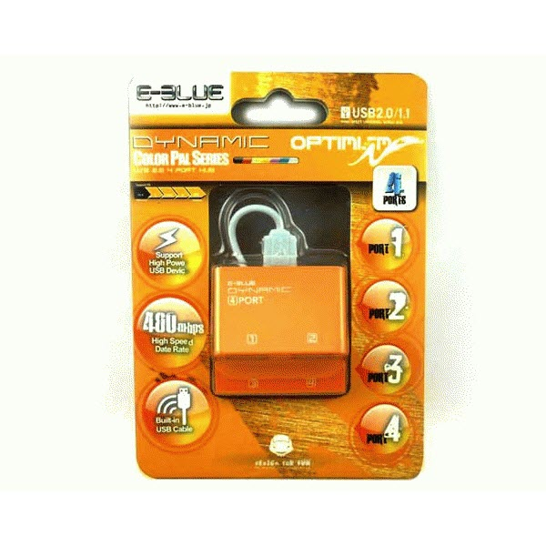 E-Blue Dynamic Purity Yellow 4-ports mini USB hub EHB038YE