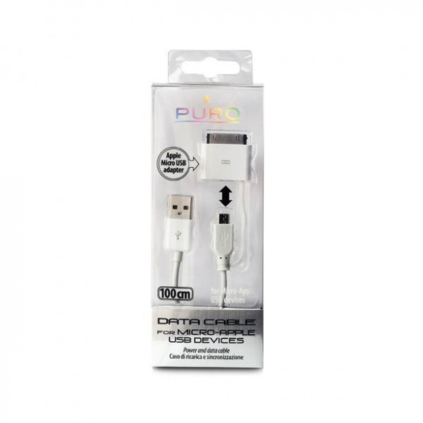 Puro Power & data cable apple – micro 100 cm wit
