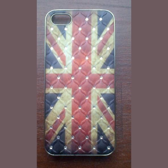 iPhone 5 cover Flag UK met diamant 1