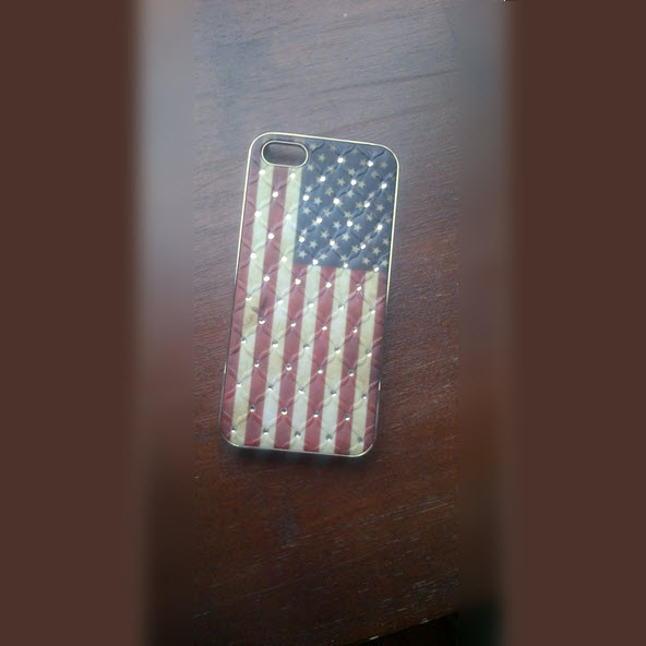 iPhone 5 cover Flag USA met diamant