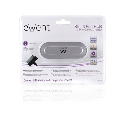 Ewent hub USB 2.0 – 3x USB 2.0 + 30p EW1129 voor iphone