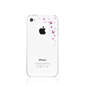Bling my Thing iPhone 4(s) Butterfly Light Rose Transparant 3
