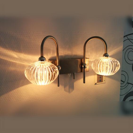 Hala wandlamp rvs met kristal duo dimbaar 3